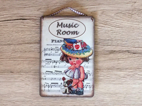 Music Room Vintage Rustic Metal or Wood Sign