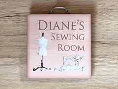 Add text to Craft or Sewing Room Door Sign in Wood or Metal online at www.honeymellow.com