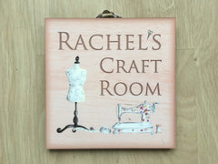 Add text to Craft or Sewing Room Door Sign in Wood at www.honeymellow.com