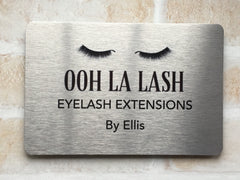 Silver Brushed gold blank signs to personalise.  Add your text to metal plaques at www.honeymellow.com