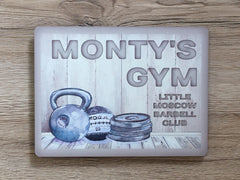 Cream Rustic Personalised Gym Fitness Studio Sign Custom Made at www.honeymellow.com