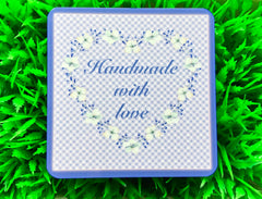 Add your own text to our Handmade Floral Blue Sign Design in Wood or Metal at www.honeymellow.com