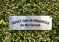 Duvet Day in Progress: Do Not Disturb Silver Hanging Sign at www.honeymellow.com