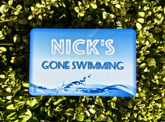 Gone swimming personalised handmade sign at www.honeymellow.com