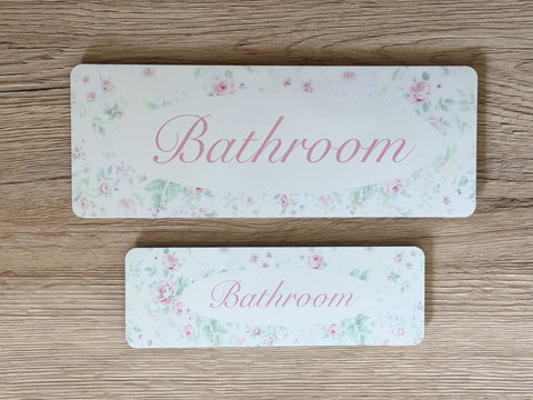 Bathroom, Loo or Toilet Floral Cottage Chic Sign