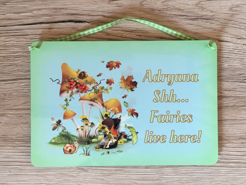 Fairies Live Here Personalised Metal Sign
