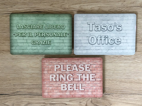 "Add Your Own Text to 15x10cm / 6x4"" Blank BRICK EFFECT Metal Signs in a Variety of Colours"