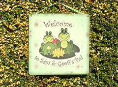 'Welcome to Our Pad' Daisy Square Shabby Chic Personalised Signs