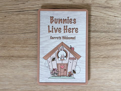 Bunnies Live Here Personalised Metal Sign