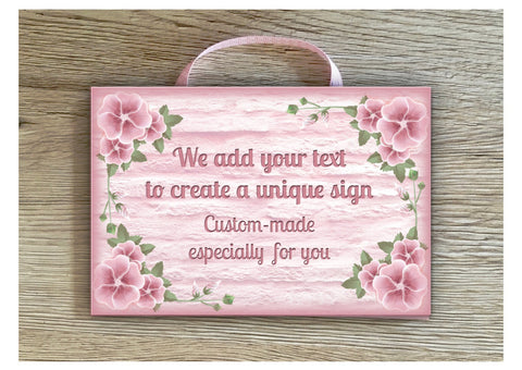 Add Your Own Text to Pink Petunia Blank Sign in Wood or Metal