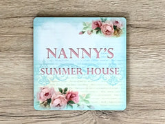 Add Your Own Text to Summer Rose Square Cottage Chic Blank Signs