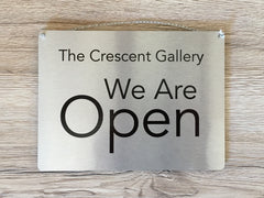 Open and Closed Reversible Italic Hanging Metal Signs in Silver, Gold or White