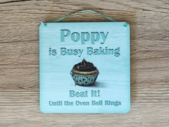 Baking Personalised Wood or Metal Sign: Mint Cupcake Design