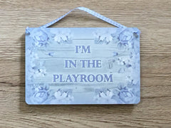 'I'm in the Garden' Grey Wood Effect Metal or Wooden Sign + Add Your Own Text