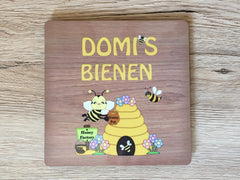 Bee Sign: Personalised Wood Effect Metal Plaque for all Beekeepers
