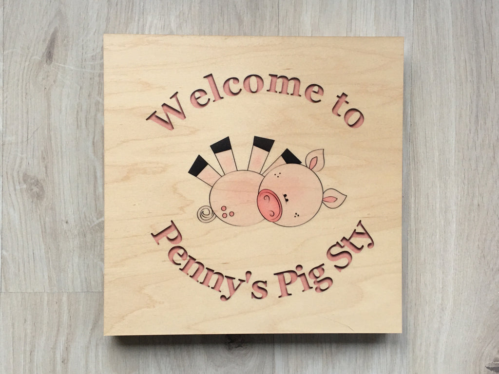 MAPLE WOOD Pig Sty Square Sign: Bespoke Personalised Wall Plaque