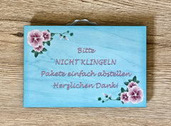 Add Your Own Text to Aqua Floral Wood Effect Design Sign in Wood or Metal