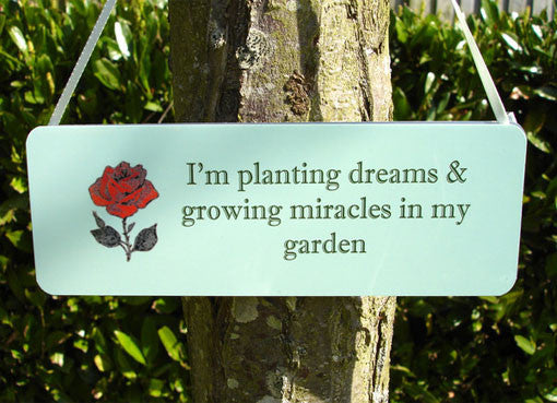 Rose Green Garden Hanging Sign plus Free Personalisation Custom Made at Honeymellow