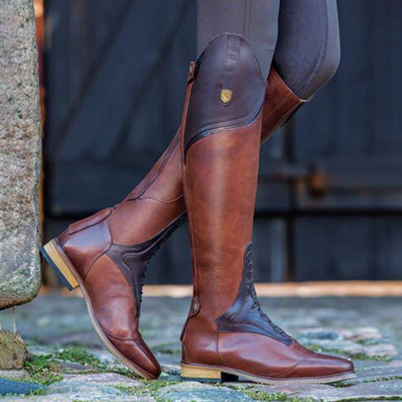 Retro Riding Boots Low Heel Knee High Boots