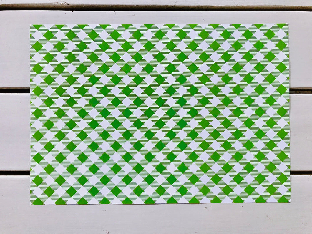 Lime Green Gingham Placemats
