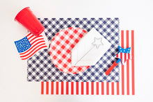 Load image into Gallery viewer, Classic Red and White Stripes Placemats