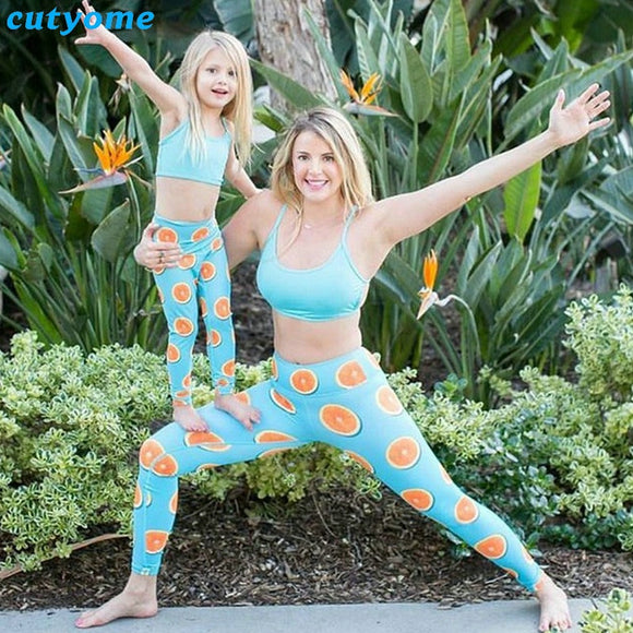 Mommy And Me Sport Yoga Family Look Beachwear Outfits
