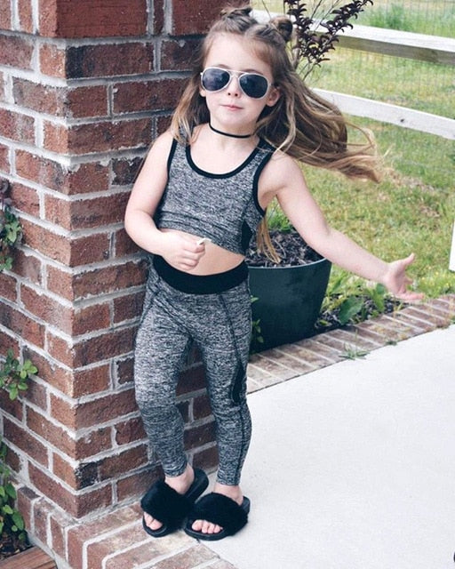 Girls Yoga Vest Crop Top Pants Elastic Leggings