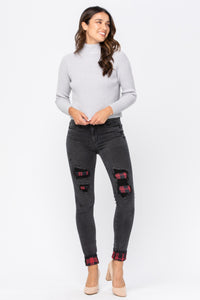 Black Buffalo Plaid Patch Skinny Jeans (Preorder ETA 10/30) - Lavender Latte Boutique