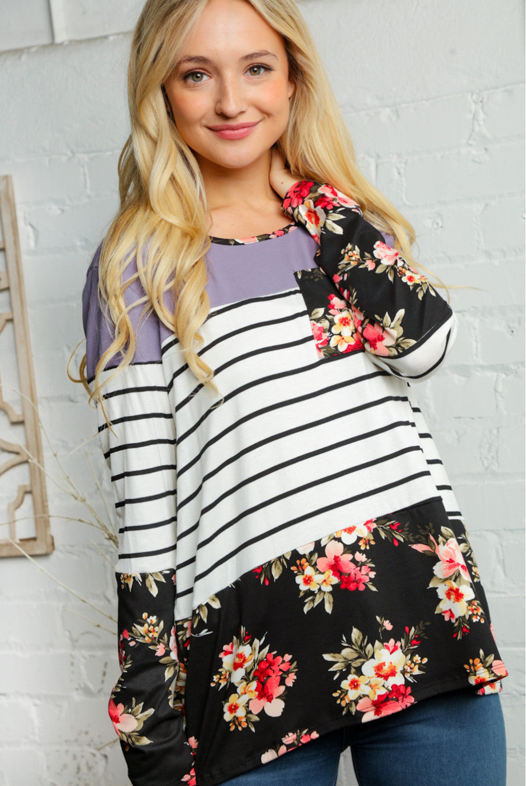 Floral & Stripe Mix Contrast Pocket Tee!