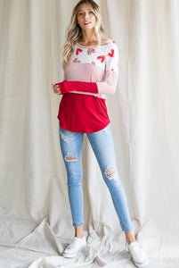 Valentine Heart & Stripe Mix Top - Size S