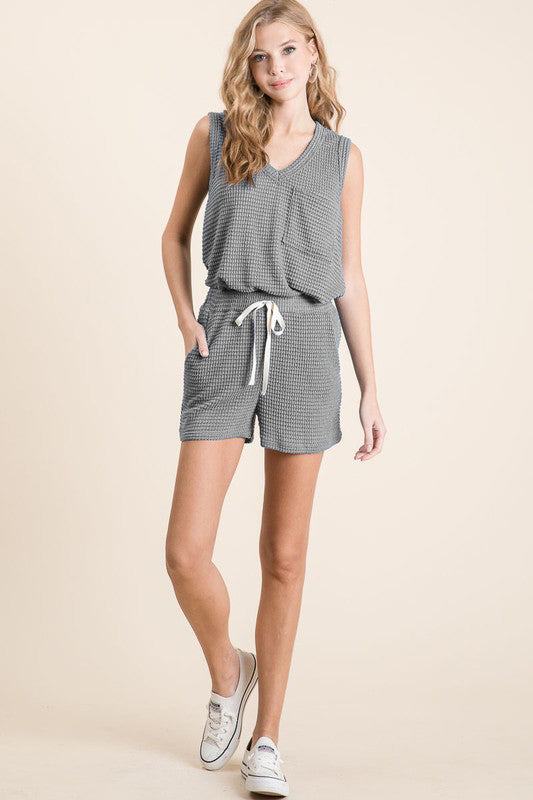 Grey Waffle Knit Lounge Tank and Shorts Set - Lavender Latte Boutique