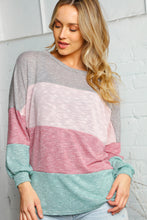 Load image into Gallery viewer, Mauve Mix Color Block Bubble Sleeve Top