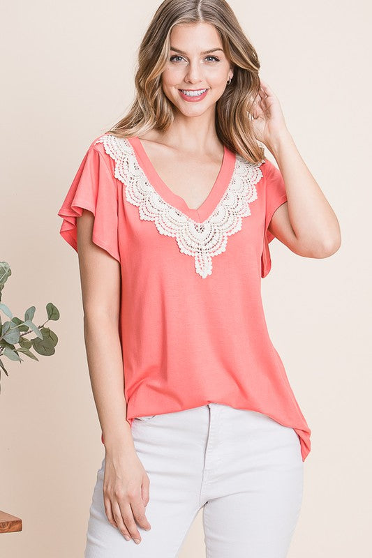 Coral V Neck Lace Flutter Sleeve Top