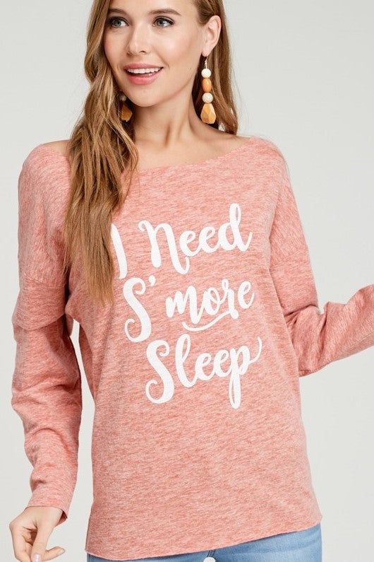I Need S'more Sleep Graphic Off the Shoulder Top - Size M