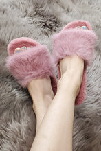 Load image into Gallery viewer, Faux Fur Slippers - Size 7 - Lavender Latte Boutique