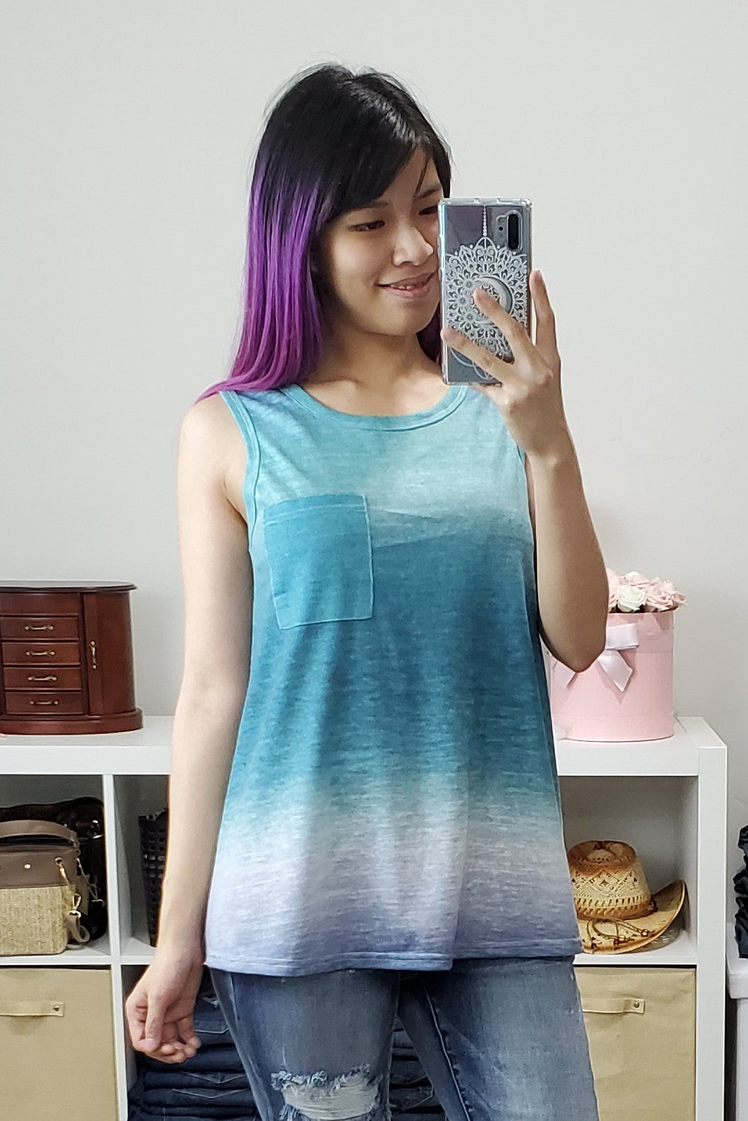 Ombre Pocket Tank - Size 2XL - Lavender Latte Boutique