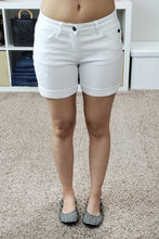 "Load image into Gallery viewer, Mid Rise 5"" Cuffed Denim Shorts - Lavender Latte Boutique"
