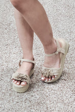 Load image into Gallery viewer, Taupe Ruffle Espadrille Sandal - Lavender Latte Boutique