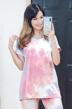 Load image into Gallery viewer, Watercolor Tie Dye Short Sleeve Dolman Tee
