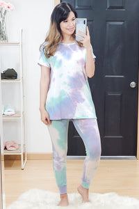 Watercolor Tie Dye Short Sleeve Dolman Tee