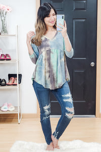 Tie Dye V Neck Empire Ruffle Top
