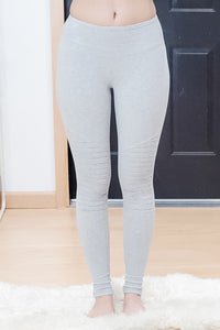 Cotton Wide Waistband Moto Leggings