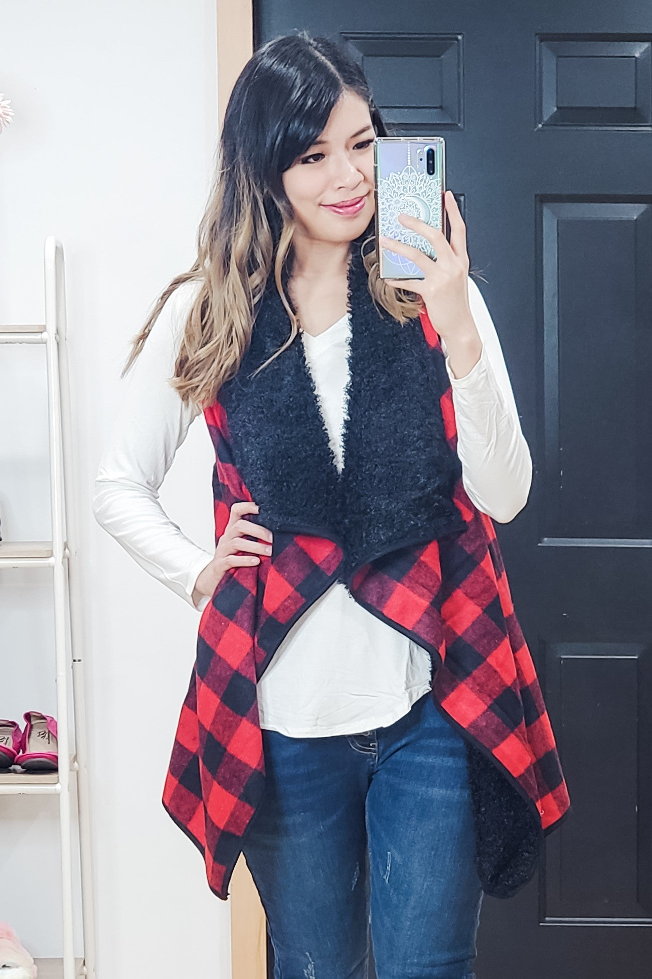Red Buffalo Plaid Draped Vest