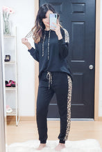 Load image into Gallery viewer, Black Leopard Hoodie + Jogger Lounge Set