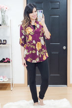 Load image into Gallery viewer, Wine Floral Mandarin Collar Top