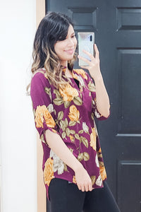Wine Floral Mandarin Collar Top