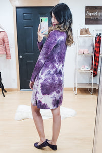 Purple Tie Dye Choker Strappy Dress