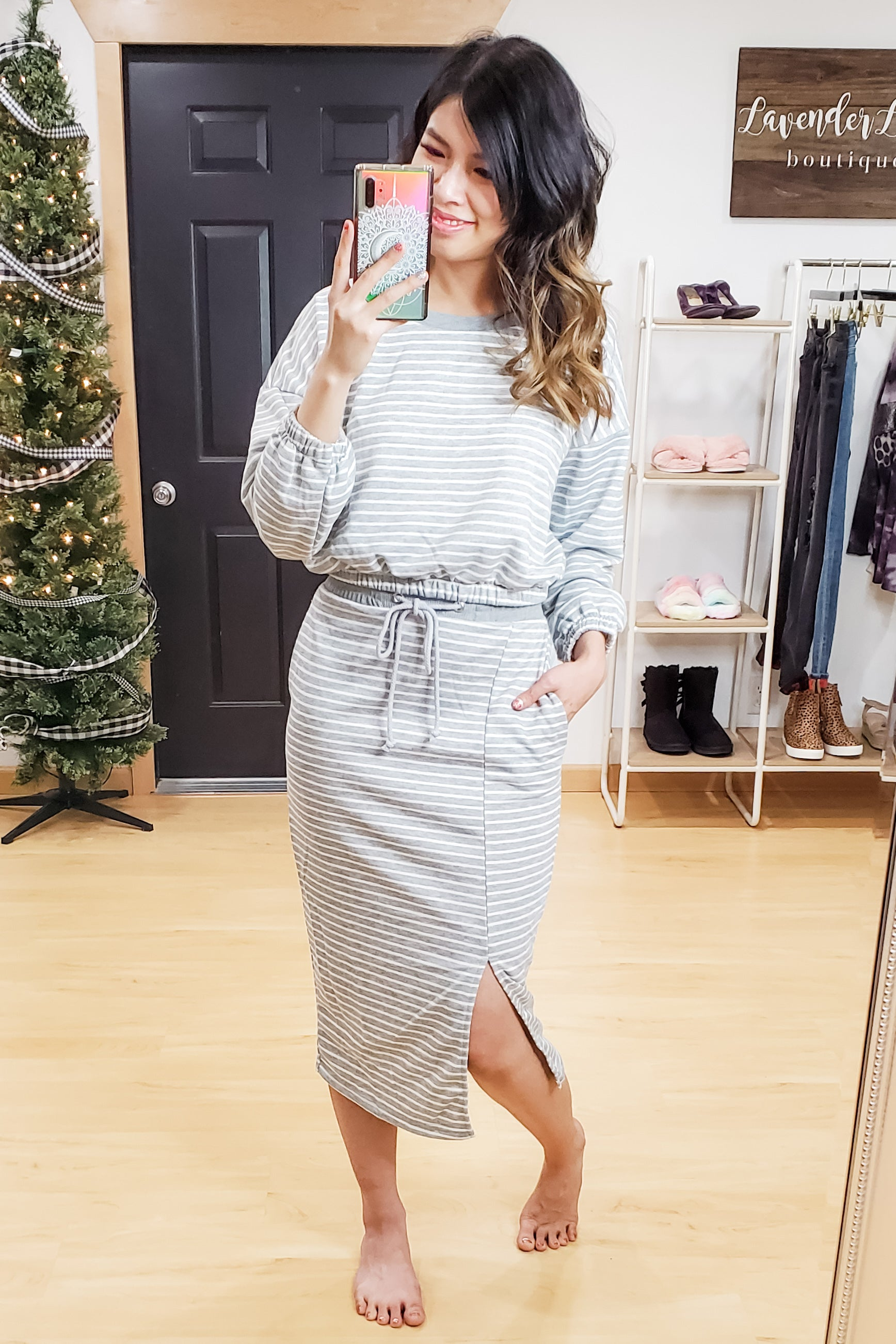 Grey Stripe Lounge Pullover and Skirt Set
