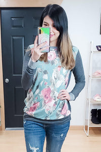 Blue/Pink Floral Contrast Back Tunic Top