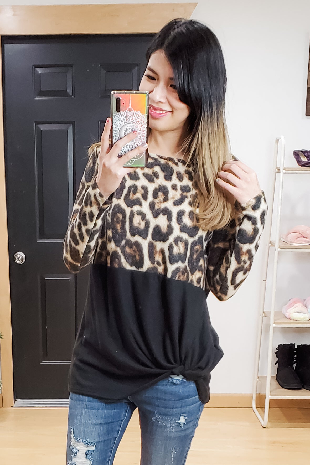 Animal Black Color Block Side Knot Top - Size S